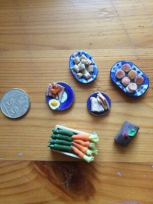 DOLLS HOUSE MISCELLANEOUS FOOD ITEMS sausage roll sandwich scones yule log