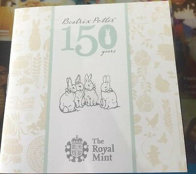 150th Anniversary beatrix potter 50 p silver proof coin royal mint uk