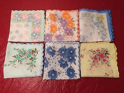 SET 6 LADIES HANKIES Floral Vintage Style Cotton Handkerchief