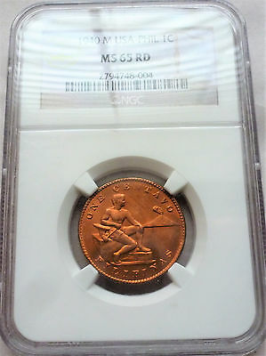 1940 NGC MS 65 Red One Centavo from the Philippines, Stunning Coin, Deep Red !!