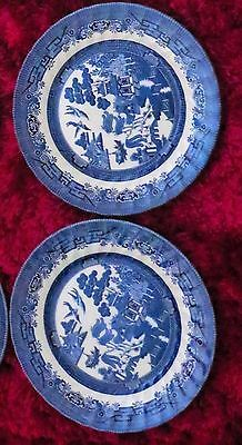 Royal Wessex Willow Pattern X2 of Four Dinner Plates 25 cm