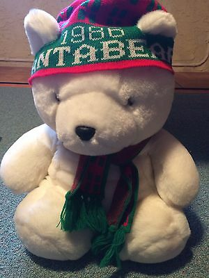 VINTAGE 1986 DAYTON HUDSON WHITE SANTA BEAR W/ HAT & SCARF -Original Bag-MINT!