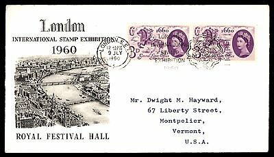 Royal Festival Hall London Stamp Exhibition 1960 Cover Illustrated