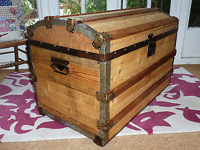 Large Victorian Dome Top Travel Trunk Chest Vintage Retro Antique Restored