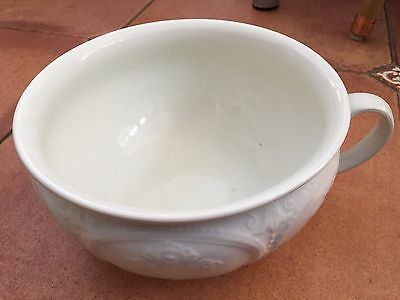 Vintage J&G Meakin White Pottery Chamber Pot with Floral Pattern Design