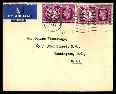 1949 December 28 Universal Postal Union Issues On Uk Cover To Us