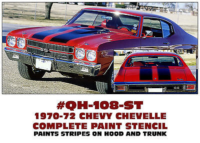 VINYL or PAINT STENCIL SIDE BODY STRIPE KIT QH-106 1969 CHEVY CHEVELLE SS