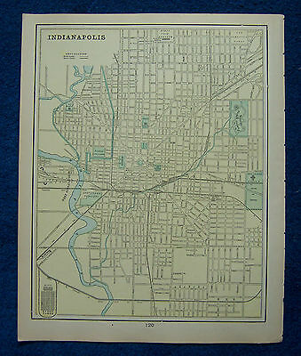Original 1901 Crams Maps of Indianapolis, Indiana, and Saginaw, Michigan, USA.