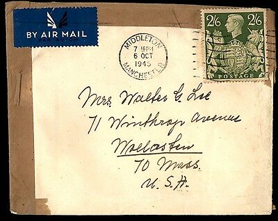 October 6 1945 Middleton Uk 2/6 Rate Cover To Usa
