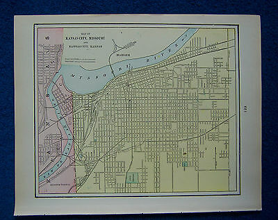 Original 1901 Crams Maps of Kansas City and St Joseph, Missouri, USA.