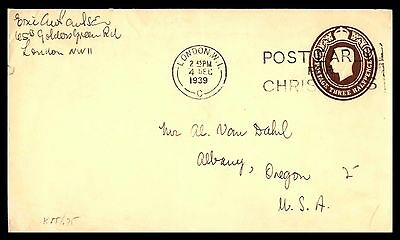 December 4, 1939 London UK Christmas classic postal stationery cover to USA