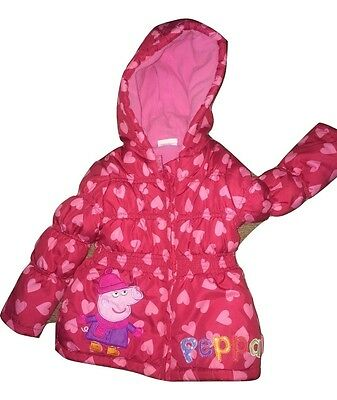 Girls Official Peppa Pig Hooded Padded Jacket (Aged 2-3)