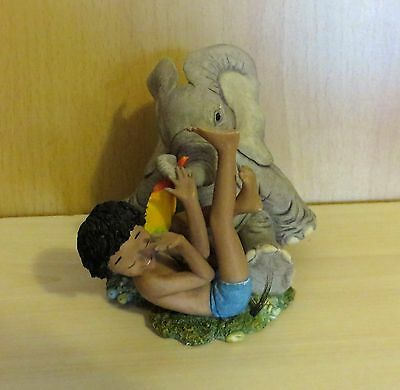 Tuskers Always Friends Collectable Elephant & Little Boy No91147 Lovely Detail