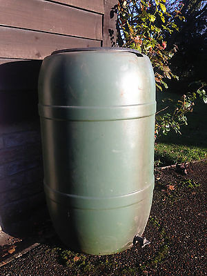"Water Butt - Green Plastic With Lid & Tap - 36"" High"