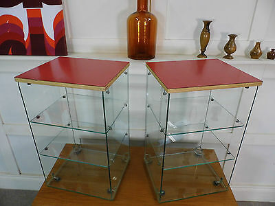 Vintage Antique Shop retail Counter Display Glass Formica cabinets bedside table