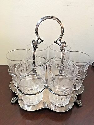 Unusual Antique Silver Plate Caddy/Tray  juice Glass  Set