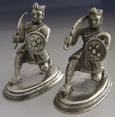 INDIAN MUGHAL SOLID SILVER SOLDIERS 19th CENTURY c1880 EASTERN ANTIQUE RARE