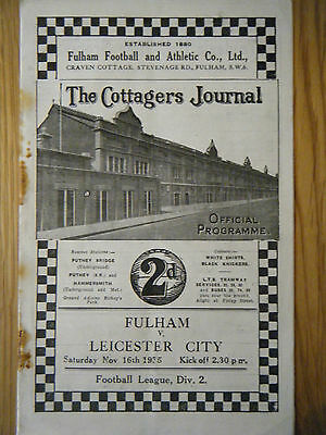 1935 /1936 FULHAM v LEICESTER CITY FOOTBALL PROGRAMME