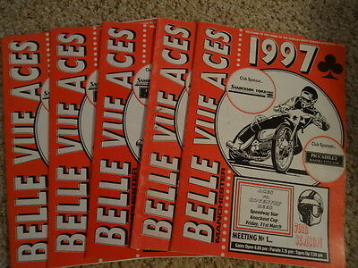 BELLE VUE SPEEDWAY PROGRAMMES (x5) (1997) LISTED COVENTRY SWINDON WOLVES POOLE