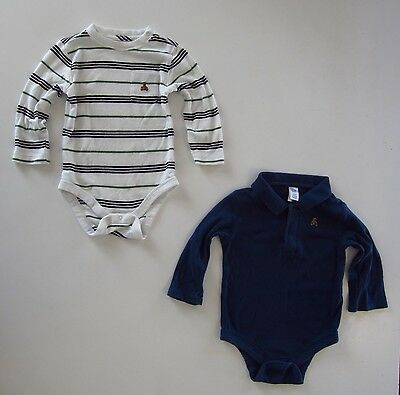 4pc Baby GAP Boy 6-12M Long Sleeve Onesies Button Polo Shirts Old Navy