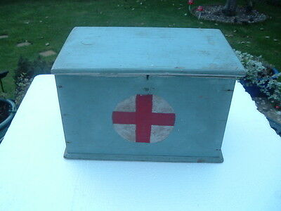 Vintage  Wooden First Aid Box And Contents
