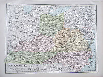 UNITED STATES - BORDER STATES - ANTIQUE MAP - PUBLISHED c.1895