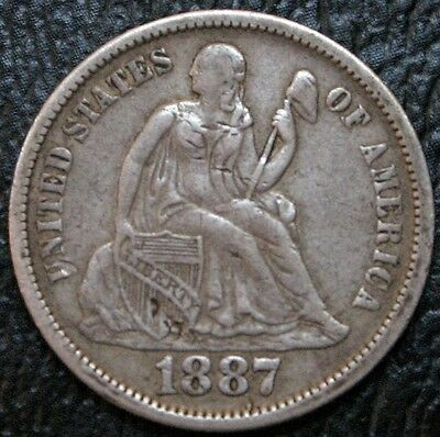 1887 Seated Liberty Dime VF Very Fine 10C Silver Coin