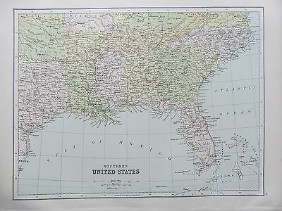 UNITED STATES - SOUTHERN STATES - ANTIQUE MAP - PUBLISHED c.1895