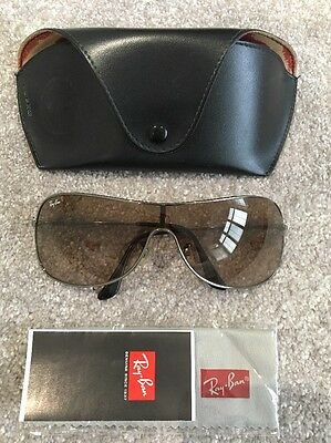 Genuine RAY BAN Sunglasses Unisex Silver Edge With Case Cloth Booklet