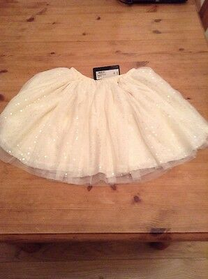 Girls Marks And Spencer Autograph Sequin Skirt Cream Coloured Age 8-9 Year