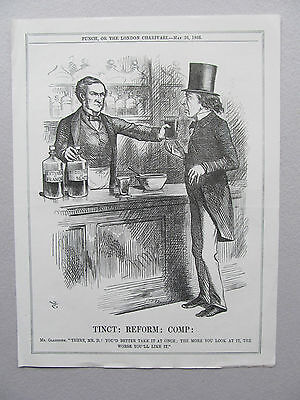 Political Cartoon From Punch - Antique Print - Published - 1866