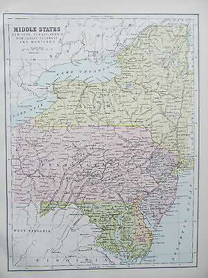 UNITED STATES - MIDDLE STATES - ANTIQUE MAP - PUBLISHED c.1895