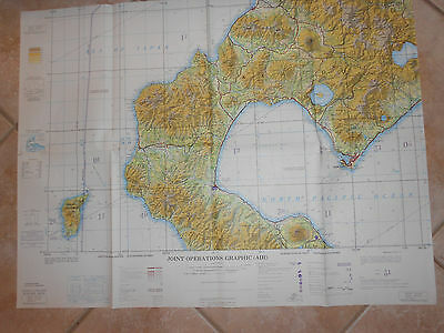 """VINTAGE  Joint Operations Graphic Air Chart MURORAN,JAPAN 1974 -29"""" X 22"""""""