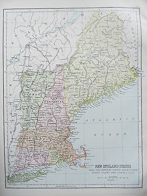 UNITED STATES - NEW ENGLAND STATES - ANTIQUE MAP - PUBLISHED c.1895