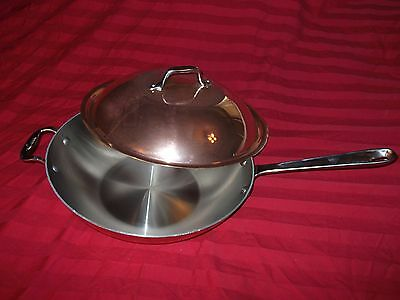 All Clad Cop-R-Chef Copper Large Chef's Pan Wok With Dome Lid NOS