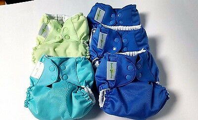 Lot of 5 BumGenius Flip Cloth Diaper Cover One Size Snap Moonbeam, Green, Teal