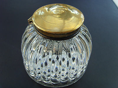 An Antique Victorian Domed Glass Inkwell Desk Top Brass Hinged Lid Calligraphy