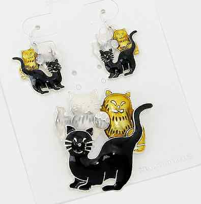 New Adorable Silver Kitty Cat Cat Lovers Pendant Earrings Set