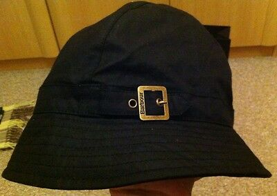 Barbour Waxed Black Hat Mens Or Ladies Brand New With Tag Medium Size