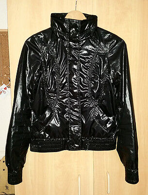 UNIQLO Wet Look Black Bomber Jacket S Running Gym Athleisure Yoga Fitness Run