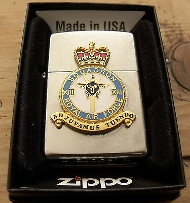 2013 Royal Air Force 13 Squadron Gold Plated Crest Zippo Lighter New In Box