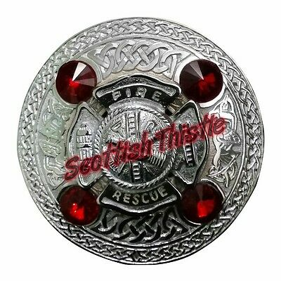 Men's US Firefighter Fly Plaid Brooch Red Stone/Scottish Kilt Fly Plaid Brooches