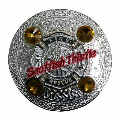 Men's US Firefighter Fly Plaid Brooch Yellow Stone/Scottish Kilt Fly Plaid Brooc