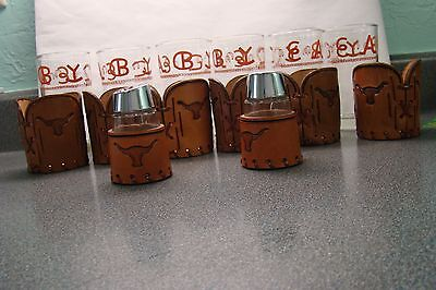 Lot Of 6 Bamco Western Leather Cattle Brand Glasses New Unused Salt & Pepper Too