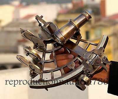 Vintage Heavy Brass Antique Sextant With Wooden Box Nautical Gifting Sextant 9""