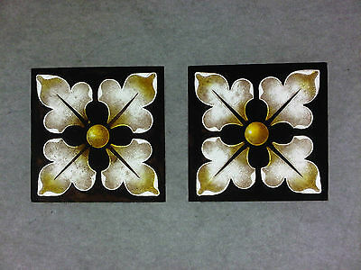 Beautiful Stained glass.FLOWERS.Hand painted. Kiln fired.90 x90 mm. New. 2 p-s.