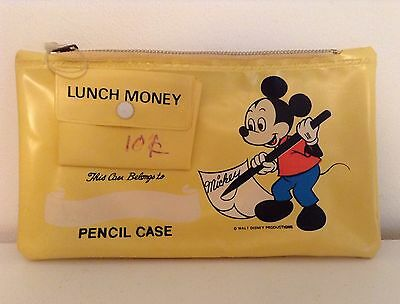 Vintage Mickey Mouse Disney Yellow Pencil Case Holder Coin Money Pouch Bag