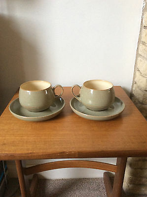 """Denby Stoneware """"camelot"""" Pattern Two Cups And Saucers."""