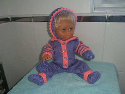 Hand knitted dolls clothes. Onesie outfit to fit Tiny Tears.