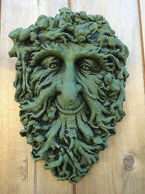 Green Man Wall Plaque Greenman Pagan Wiccan Stone Ornament